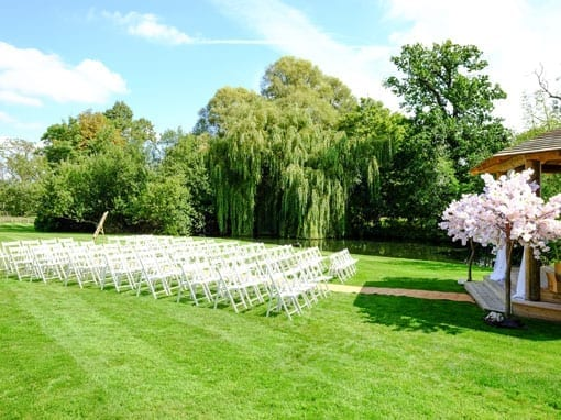 Outdoor wedding gazebo next to the lake