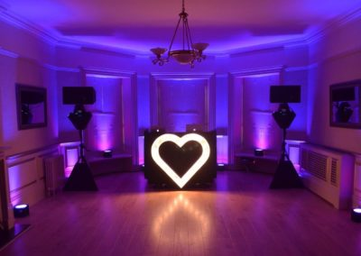 that amazing place wedding dj heart light purple uplighting