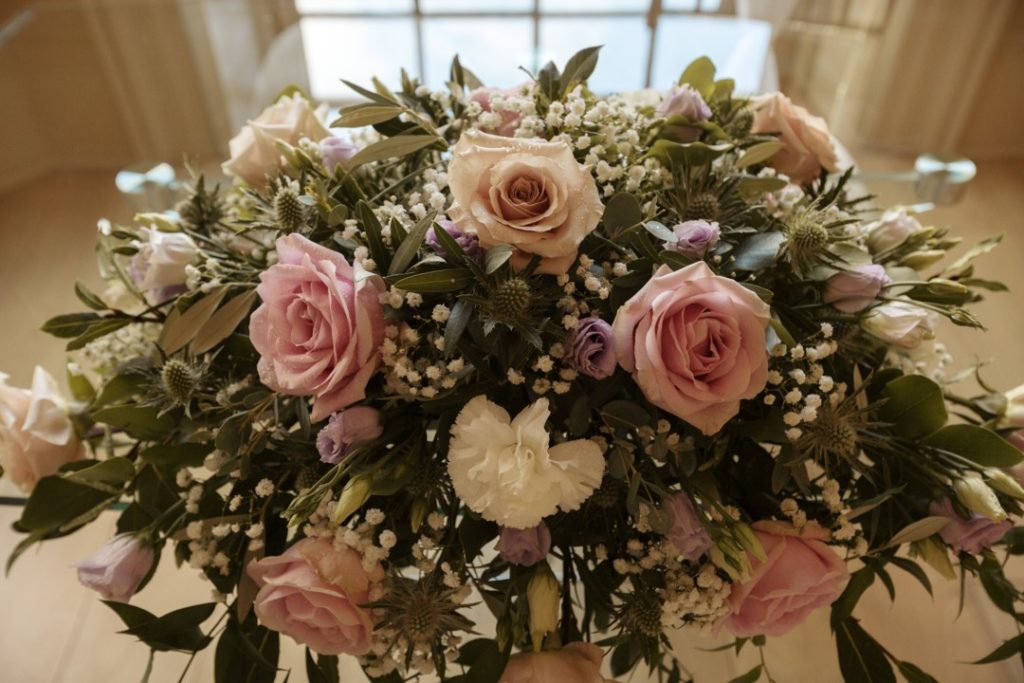 Adele and Douglas big day flowers at exclusive essex wedding venue That Amazing Place