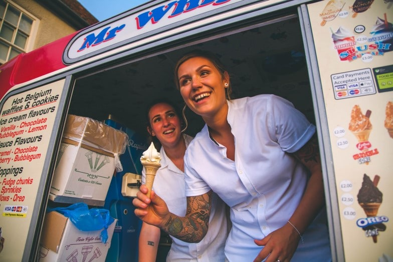 Lucy and Vicky Dream Day Wedding Stories at That Amazing Place Ice Cream Van