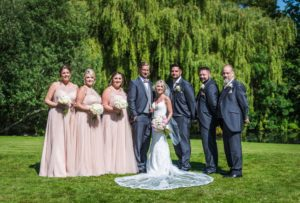Rosa And Alex Wedding Stories at That Amazing Place Wedding Venue Harlow Wedding Dress Full Bride Groom and Bridesmaids