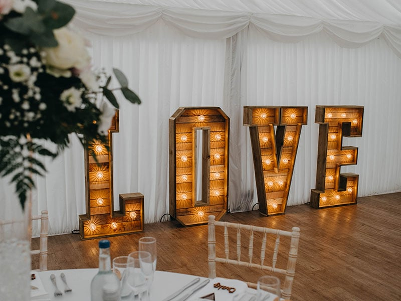 Samantha and Andrew Wedding at That Amazing Place Harlow Essex Wedding Venue Love Giant Letters