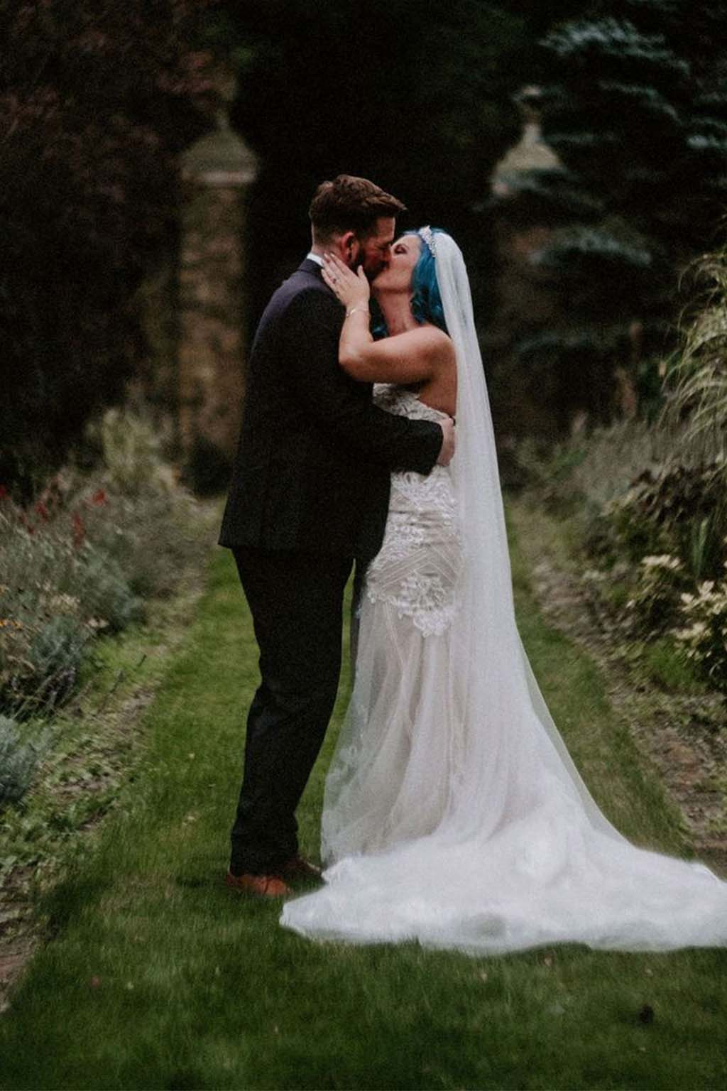 Melissa & Tom Tie The Knot At That Amazing Place Wedding Venue Wedding Dress Back Side